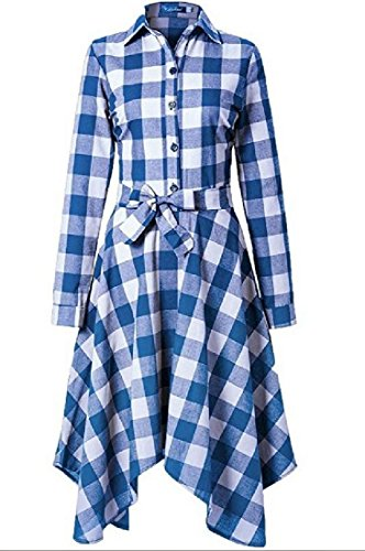 Fit Plaid Irregular Sexy Blue Dress Slim Mid Belted Womens Length Coolred Sky ZcqOCw6RC