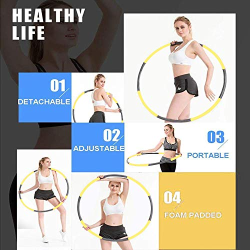 Hoola Hoops for Adults Weight Loss – Weighted Hoola Hoop,Jump Rope Weighted Exercise Hoola Hoops for Kids,Hoola Hoops Bulk,Professional Soft Fitness Hoola Hoops Skipping Rope – Detachable (Yellow)