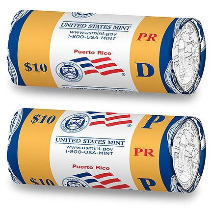2009 Puerto Rico Quarter Two Roll Set R64 P/D US Mint 80 BU Coins (Territory Roll Quarter)