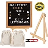 Felt Letter Board 10x10 Premium Oak Wood Sign Letterboard, 680 Changeable White and Gold Plastic Board Letters, Numbers, Symbols, Emojis. Message Board Display Stand and 2 Storage Bags with Boards