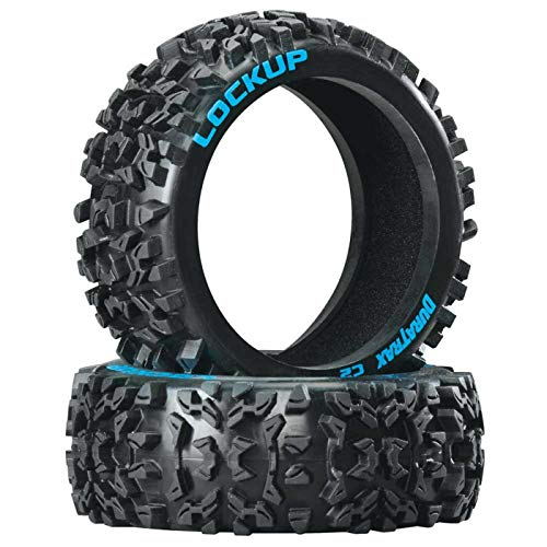 Duratrax Lockup 1:8 Scale RC Buggy Tires with Foam Inserts, C2 Soft Compound, Unmounted (Set of 2)