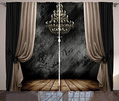 Ambesonne Classical Curtains, Ball Room Chandelier Look Illustration in Dark Tones Medieval Antique Times, Living Room… 1