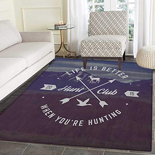Hunting Rugs for Bedroom Grunge Retro Hunt Club Emblem with Arrows Motivating Quote Mountains Backdrop Circle Rugs for Living Room 4'x6' Brown Blue White