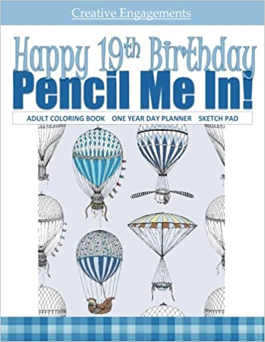 Happy 19th Birthday Adult Coloring Book 180 Page Coloring Book And