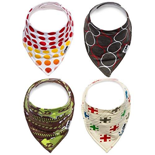 Ashley Martha Cute & Trendy Baby Bib Bandana for Boys & Girls (4 Pack) Featuring Colorful, Whimsical Prints, Durable, High-quality Production, Made of Cool Cotton/polyester Fabric with Adjustable Snap Closures