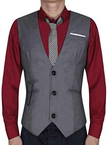 Waistcoat, Cokle Men Sleeveless Dress Jacket Casual Button Suit Vest Grey (Big And Tall Formal Wear)