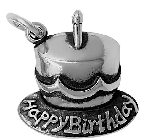 - Raposa Elegance Sterling Silver Happy Birthday Cake Charm (approximately 15.5 mm x 14.5 mm)