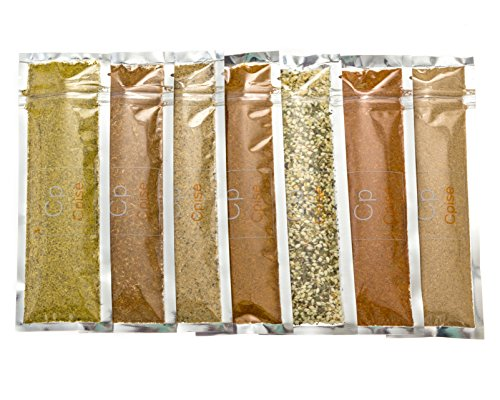 Organic Spice Seasoning Sampler Gift Set with 7 Salt Free Spice Blends: Chicago Steak, Chili, Creole, Curry, Garlic & Herb, Lemon Pepper, Taco (Basic Blends - No Sodium, No Salt, No Sugar) (Spice Sampler)
