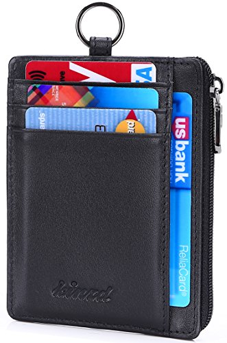 Kinzd Leather Zip Credit Card Holder Wallet with ID Window Keychain Neck Lanyard/Strap