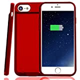 Battery Case for iPhone 7/8, Rechargeable Case with 3000mAh, Ultra Slim Portable Charger Case [Support Lightning-equipped EarPods Audio Output and Answer Calls ] 4.7 in, Red