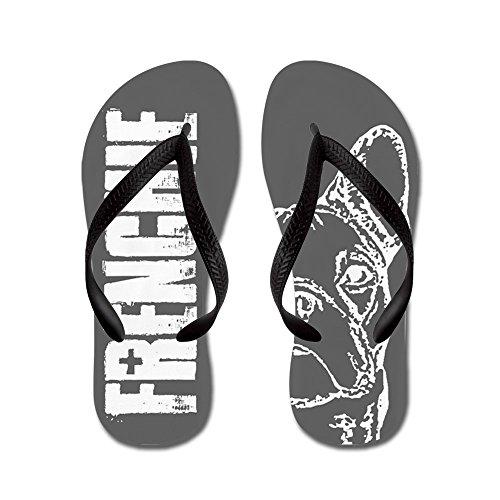 Cafepress Frenchie (grigio) - Infradito, Divertenti Sandali Infradito, Sandali Da Spiaggia Neri