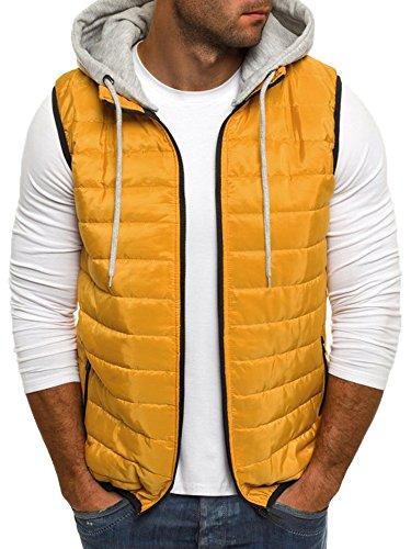 Pengfei Men's Quilted Lightweight Packable Zip Up Sleeveless Puffer Vest Jacket With Hood