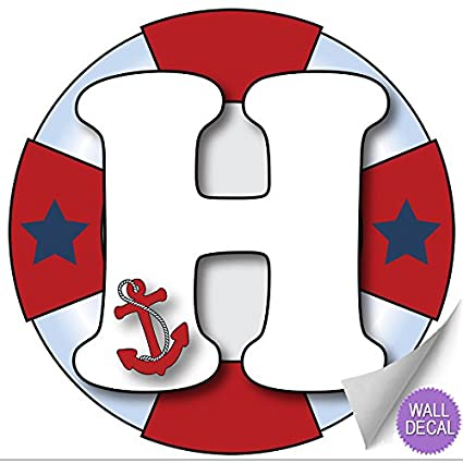 512641babfd58 Wall Letters  quot H quot  Nautical Ocean Sailing Red White Blue Letter  Stickers Alphabet Initial
