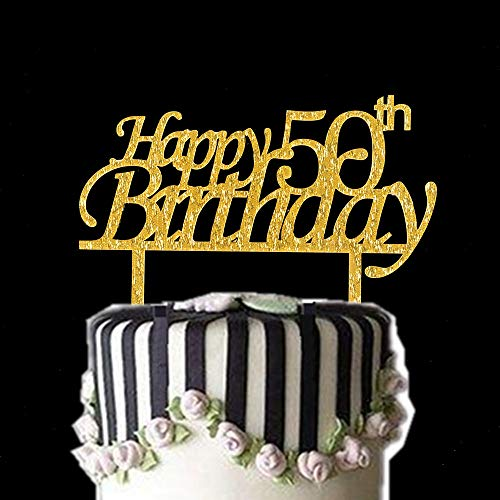Happy 50th Birthday Cake Topper Gold Bling Year Old Party Decoration Amazon Grocery Gourmet Food