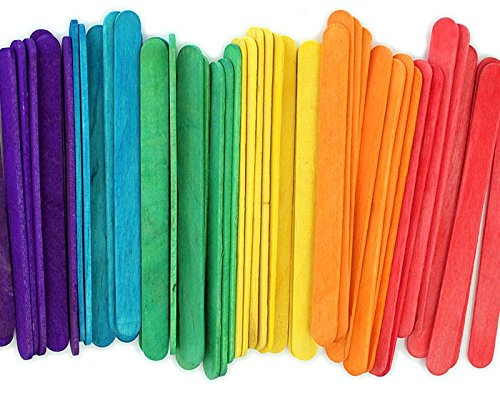 Popsicle Wooden Color Craft Sticks - Vibrant Fun Colors, 4 1/2-Inch