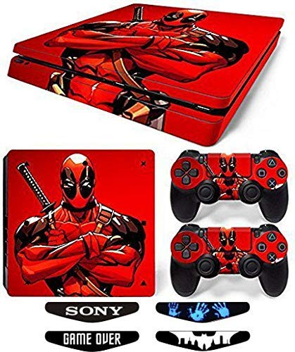 Elton De.ad-Pool King Red Theme 3M Skin Sticker Cover for PS4 Slim Console and Controllers Full Set Console Decal Stickers for Front & Back 4 Led bar Decal +2 Controller Decal Cover [video game]