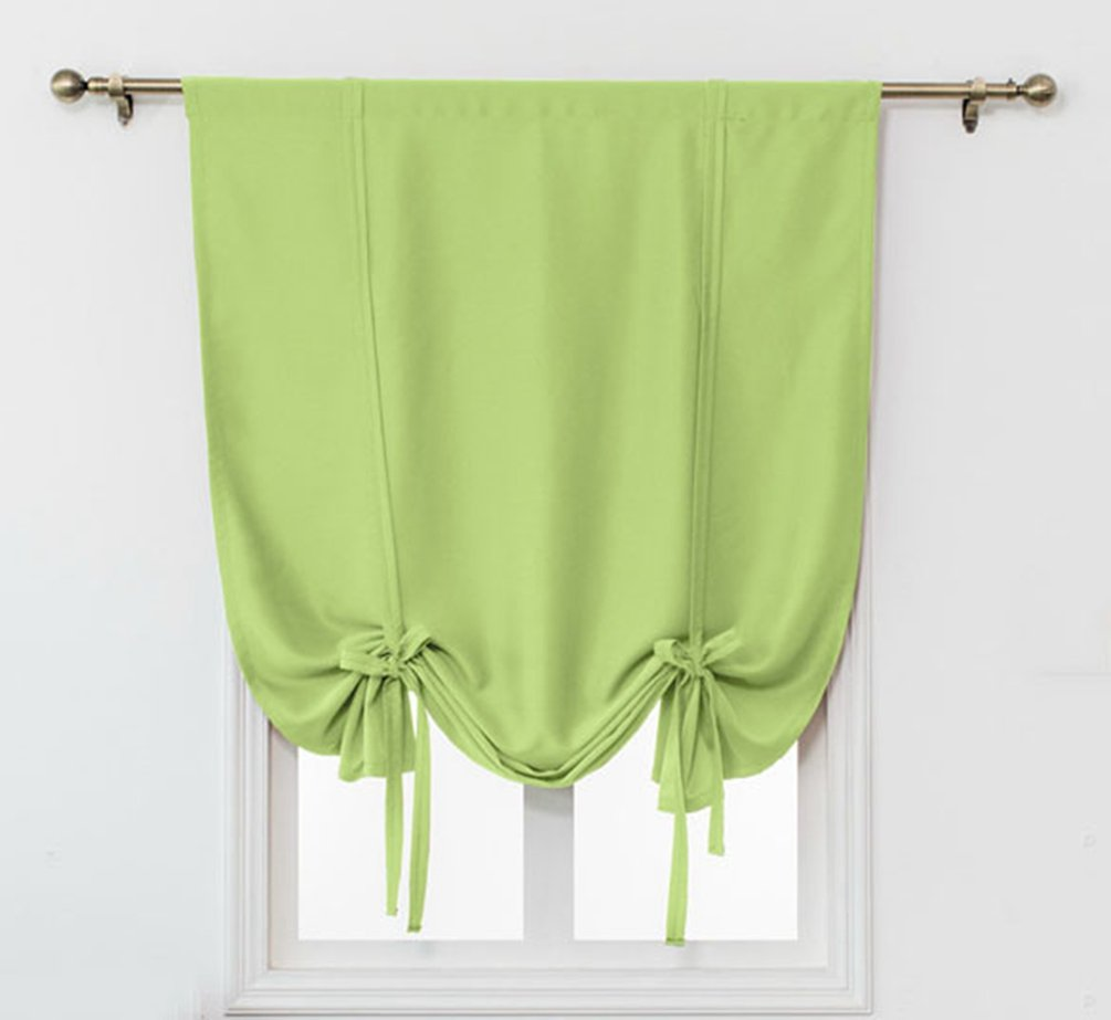 ZebraSmile Tie Up Blackout Curtains Blackout Window Shades for Bedroom Darkening Shades for Windows Darkening Shades for Bedroom Blackout Shades for Bedroom Rod Pocket, Green 31.5 X55(H) In