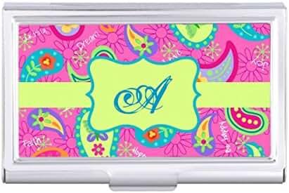 Hot Pink Modern Paisley Pattern Monogram Initial Card Holder