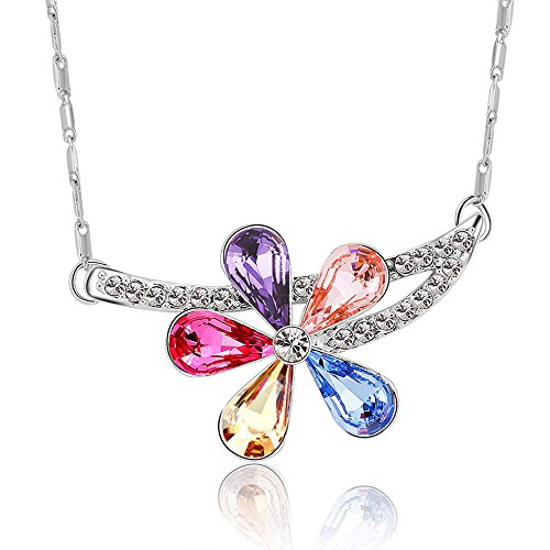 The Starry Night Color Austrian Crystal Branches Flower Diamond Accented Color Crystal Silver Necklace Austrian Crystal Dog Bone Collar