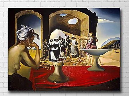 Redwpq Salvador Dali Surrealiste Marche Aux Esclaves Photo Peinture Sur Toile Pour Le Salon Decoration De La Maison Peinture A L Huile Sur Toile Mur Art 50 70 Cm Sans Cadre Amazon Fr Cuisine