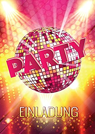 12 Einladungskarten Zum Geburtstag / Einladungen / Kindergeburtstag / Disco Kugel  / Pink / Disco