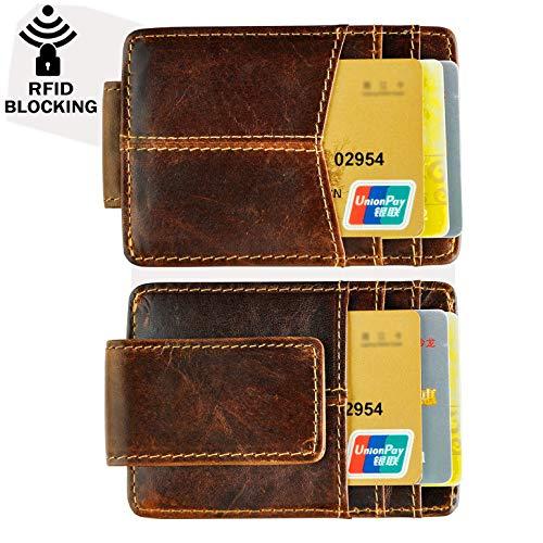 Le'aokuu Rfid Blocking Mens Cowhide Money Clip Credit Card Case Handy Slim Wallet Magnet (A Rfid Coffee) ()