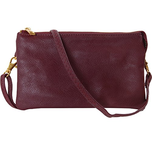 (Humble Chic Vegan Leather Small Crossbody Bag or Wristlet Clutch Purse, Includes Adjustable Shoulder and Wrist Straps, Burgundy, Dark Red,)