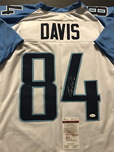 Autographed/Signed Corey Davis Tennessee Titans White Football Jersey JSA COA Autographed Tennessee Titans Football