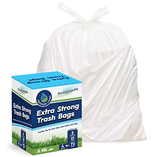 Freedom Living Biodegradable Heavy Duty White Trash Bags (5 Gallon, 72 Count Box) with Handle Ties for Kitchen, Yard, Lawn, Contractor, Janitorial or Office (Biodegradable Kitchen Trash Bags)