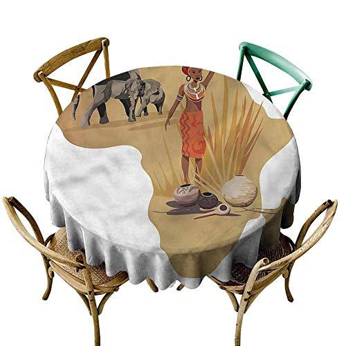 UETECH Overlays Round Tablecloth Safari,Local Lady Pottery Savannah Dinning Tabletop Decoration Diameter 36