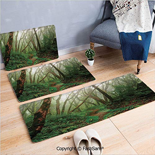 3 Piece Flannel Bath Carpet Non Slip Spooky Tropical Exotic Fog Jungle in Rainforest in Nepal Asian Climate Picture Print Front Door Mats Rugs for Home(W15.7xL23.6 by W19.6xL31.5 by W35.4xL62.9)