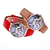 Women Quartz Watches COOKI Clearance Analog on Sale Wolf Pattren Ladies Wrist Watches Girl Watches Leather Female Watches New - A163