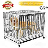 Gelinzon Heavy Duty Stainless Steel Dog Crate Cage Kennel Outdoor Waterproof Never Rust Large Strong Playpen with Patent Lock Four Wheels, 42''