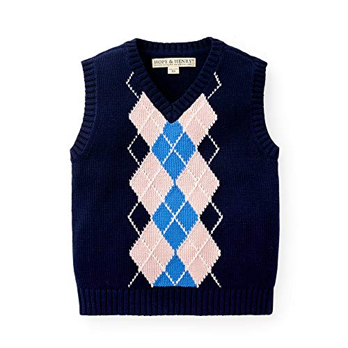 Hope & Henry Boys' Navy Argyle Cable Sweater Vest