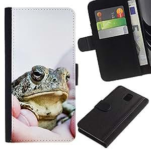 Samsung Galaxy Note 3 III - Dibujo PU billetera de cuero Funda Case Caso de la piel de la bolsa protectora Para (Cool Happy Big Frog)