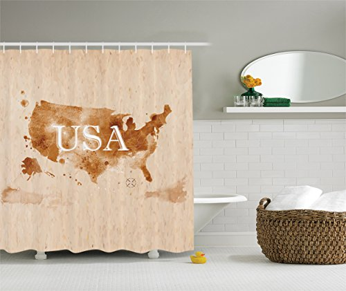 Ambesonne Americana for Home Decorations Collection, Early American Retro Map of the Country Southwest and Alaska Image, Polyester Fabric Bathroom Shower Curtain Set with Hooks, Peru Brown (Americana Gift)