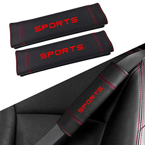 SureMart Universal Car Seat Belt Microfiber Leather Cover Shoulder Pad Safety Neck Cushion Soft Strap Protector No Slip Sports Letter Red 2Pcs