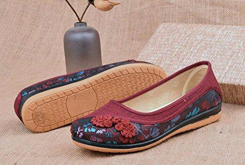 Antideslizante Tela De La Cómodo HBDLH Zapatos Zapatos Beijing Primavera De Fondo Transpirable Calzado Media Y Zapatos Old transpirable Fondo Solo mujer gules Plano Hembra cómodo Mamá Vejez Suave de zwZ6zqA