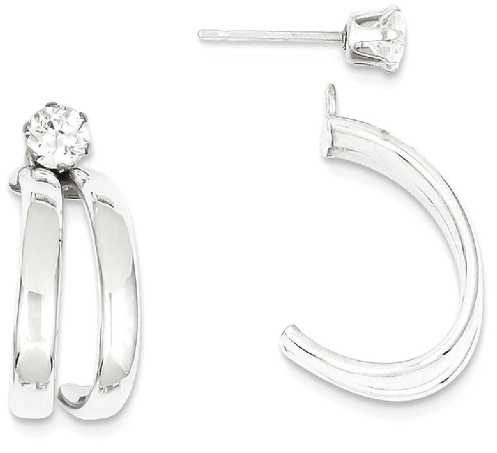 ICE CARATS 14k White Gold Cubic Zirconia Cz Stud Ear Jacket Earring Jackets For Studs Fine Jewelry Gift Set For Women Heart
