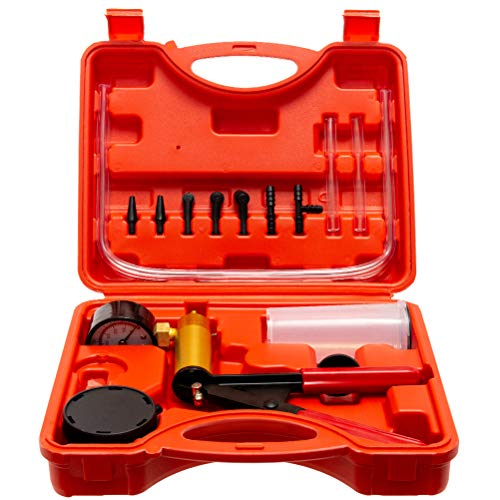 TRUSHOW Hand Held Vacuum Pump Tester Set Vacuum Gauge & Brake Bleeder Kit Pressure Pump Kit for Automotive with Adapters ()