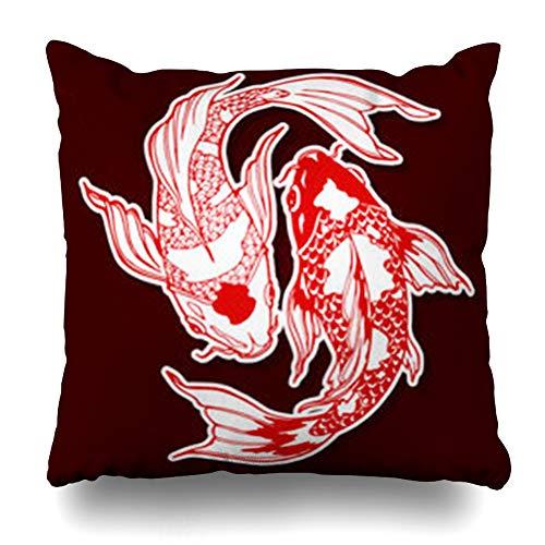 (Aika Designs Throw Pillows Covers Pillowcase Nature Japan Koi Carp Yin Yang Feng Shui Chinese Wildlife Fish Oriental Asia Asian Black China Style Home Decor Zippered 20