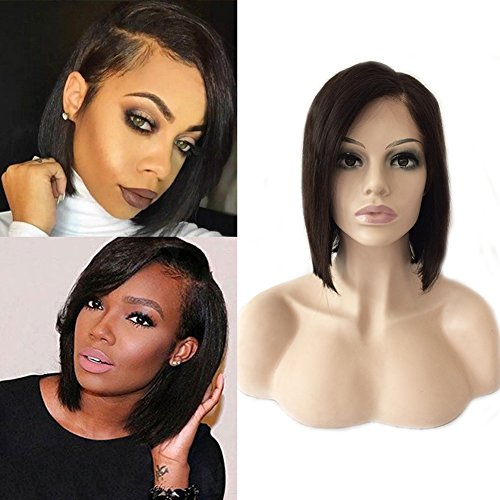 Glueless Lace Front Bob Wig with Baby Hair Side Part Off Black Virgin Brazilian Human Hair Lace Wig Natural Hairline #1B Natural Black 8''/8inch