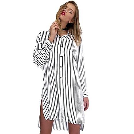 Yogogo Frauen arbeiten langer Hülse Striped lose beiläufige Bluse Knopf- Kleid: Amazon.de: Bekleidung
