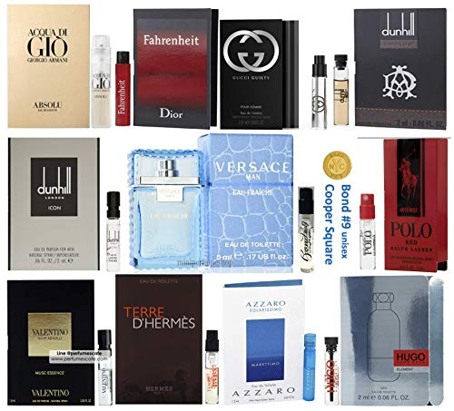Pilestone's Selection: 12 Cologne Samples For Men All High End Designer Fragrances Like Versace, Hugo Boss, Mont Blanc, Valentino