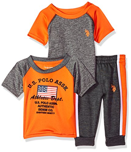 U.S. Polo Assn. Baby Boys T-Shirt and Pant 3 Piece Set, Outer Piping Short Orange, 12M