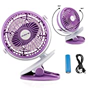 Oct17 Portable Stroller Table Fan Rechargeable Battery USB Mini Battery Operated Clip on Mini Desk Fan for Home Office Baby Stroller Car Laptop Study Gym Camping Tent - Purple