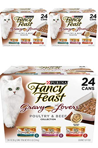 Purina Fancy Feast Gravy Lovers Poultry & Beef Feast Collection Wet Cat Food Variety Pack - (24) 3 Oz. Cans - 3 Pack