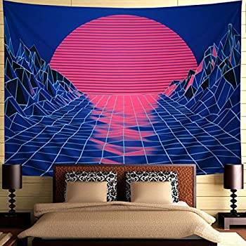 Ameyahud Sun Tapestry Mountain Tapestry Abstract Sketch Mountain River Tapestry Sunset Afterglow Landscape Tapestry for Bedroom (W59.1 × H51.2)