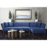 TOV Furniture The Caprice Collection Modern Style Velvet Upholstered Living Room RAF Sectional Sofa with Gold Legs, Navy