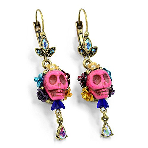 Pink Sugar Skull Earrings - Day of the Dead Mexican Jewelry